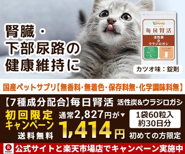 【獣医師推奨】猫用(チキン味)腎不全サプリ【毎日腎活 活性炭&ウラジロガシ】商品お試しモニター